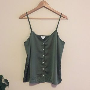 J. Crew Olive Green Button Down Silky Cami